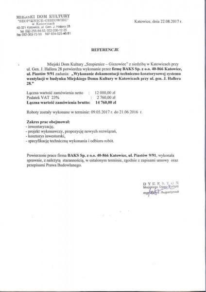 Miejski Dom Kultury Szopienice - Giszowice - referencje