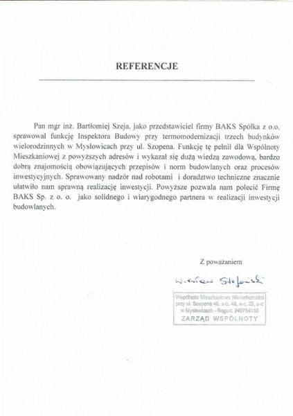 Szopena Samorząd Wspólnoty -referencje