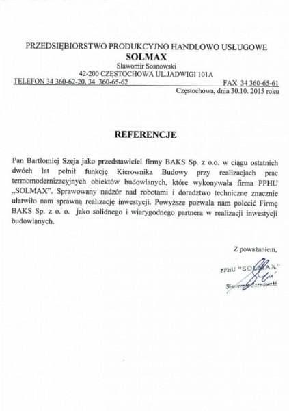 Solmax - Referencje
