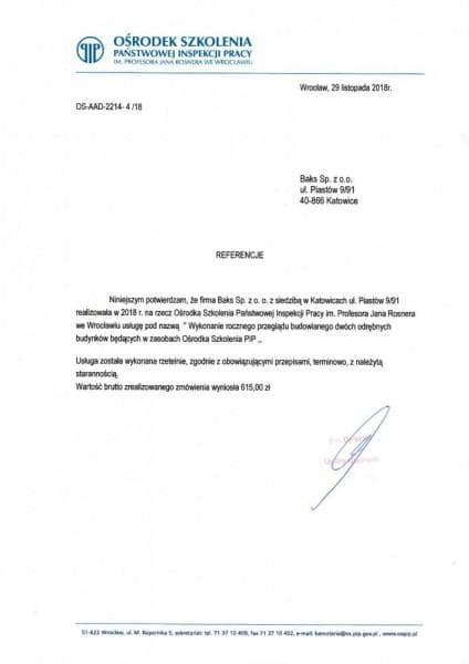 ośrodek szkolenia państwowej inspekcji pracy referencje