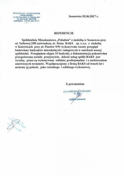 SM Południe Sosnowiec - referencje