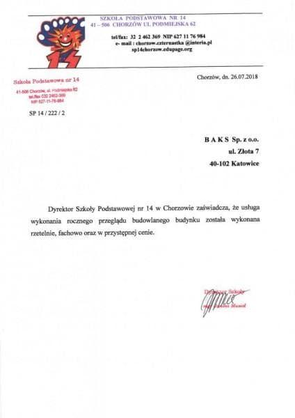 SP w Chorzowie zaświadczenie
