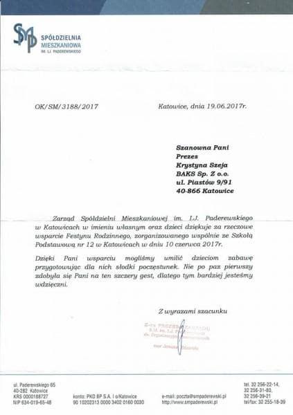 Paderewski - podziękowanie referencje