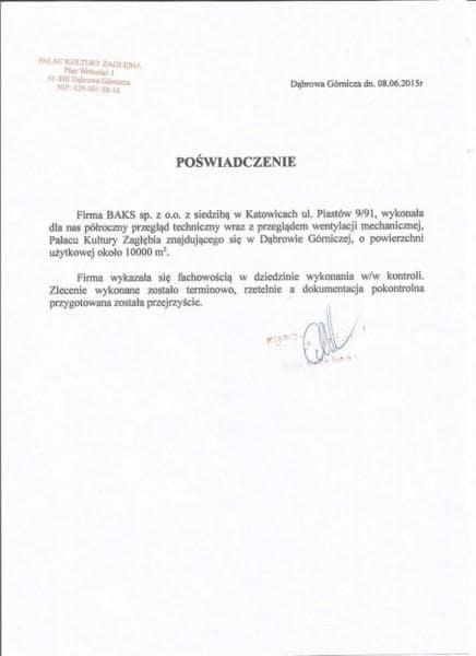 Pałac Kultury Zagłębia -  referencje