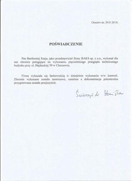 Przegląd budynku w Chorzowie -  referencje