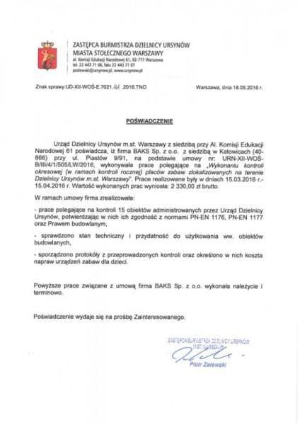 Warszawa Urząd Dzielnicy Ursynów - referencje