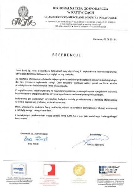 referencje regionalna izba gospodarcza w Katowicach