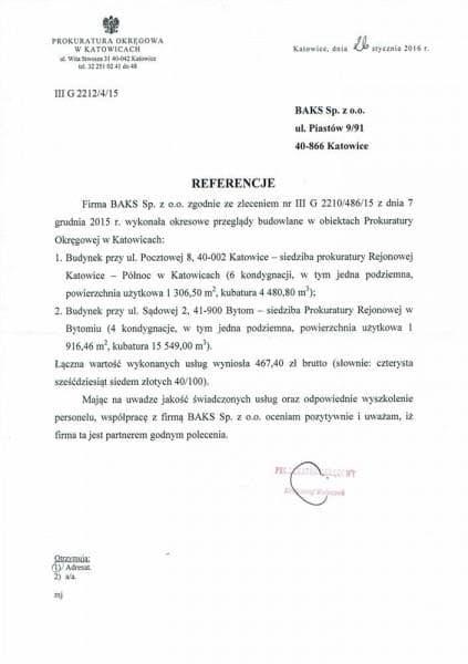 Prokuratura - referencje