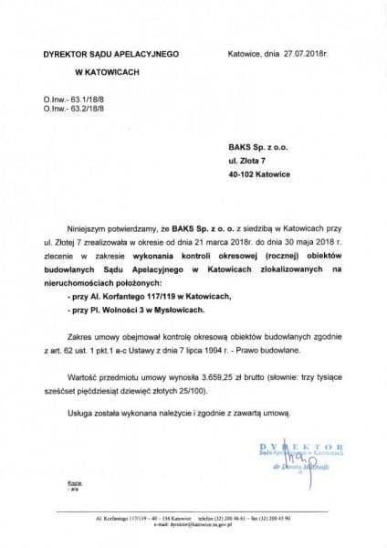 sąd apelacyjny w Katowicach poświadczenie
