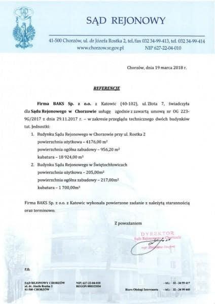 sąd rejonowy Chorzów referencje