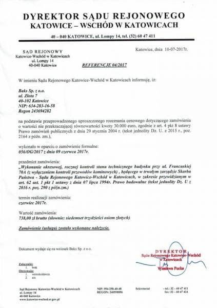 referencje sąd rejonowy Katowice