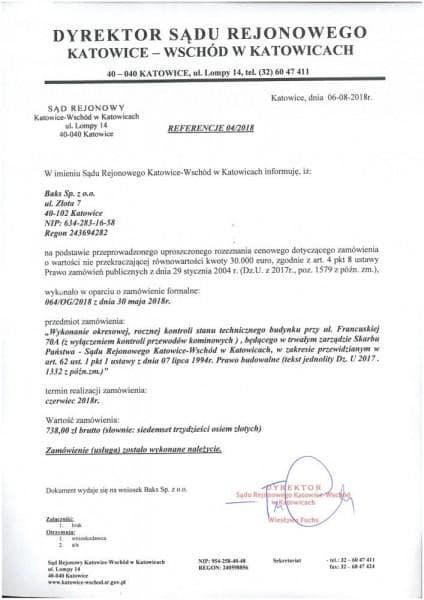 sąd rejonowy w Katowicach referencje
