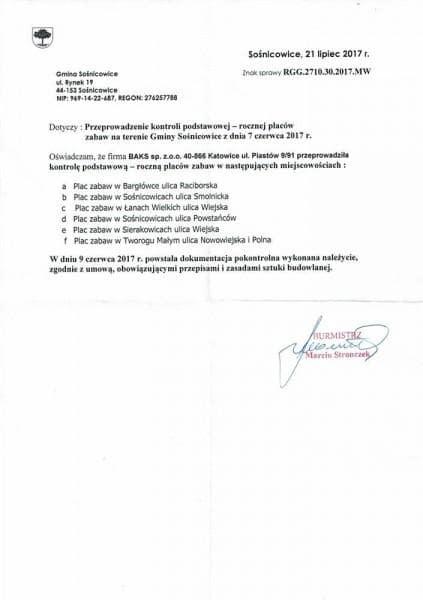 UG Sosnicowice place - referencje