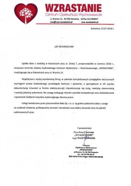 list referencyjny wzrastanie centrum opiekuńczo-wychowawcze