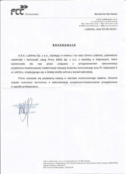 Lubliniec - referencje