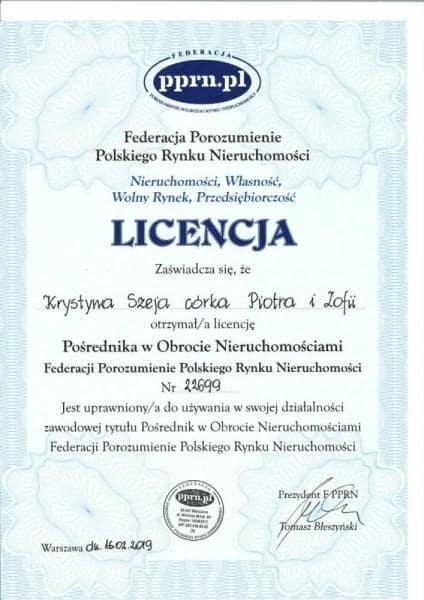 licencja posrednika w obrocie nieruchomosciami pprn