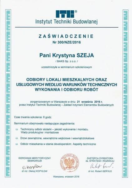 Zaświadczenie ITB Szeja Krystyna